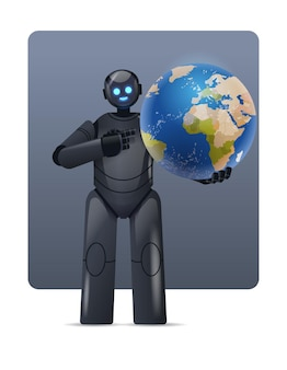Robot cyborg che tiene il pianeta terra globo moderno carattere robotico tecnologia di intelligenza artificiale