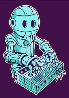 Illustrazione disegnata a mano di robot dj