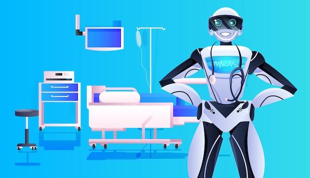 Robot medico con stetoscopio moderna clinica ospedaliera reparto medicina interna sanità intelligenza artificiale concetto orizzontale