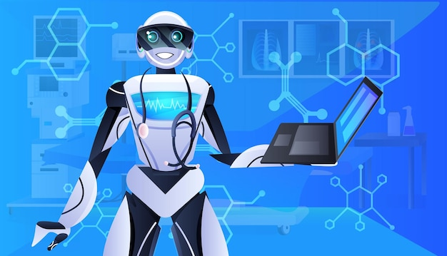 Medico robot con stetoscopio utilizzando laptop moderna clinica ospedaliera reparto interni medicina sanità concetto di intelligenza artificiale illustrazione vettoriale orizzontale