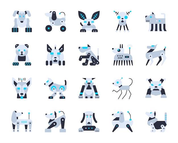Set di icone di intelligenza artificiale di cane robot, trasformatore di carattere dell'animale domestico, animale robot, cyborg.