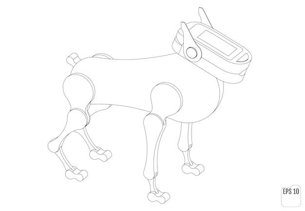Cane robot. animale meccanico isometrico. illustrazione di vettore del libro da colorare.