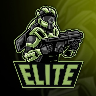 Robot elite esport logo modello