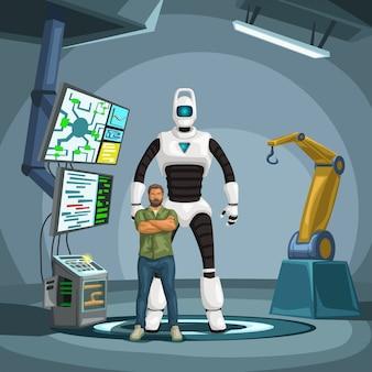 Ingegnere robot con cyborg in un laboratorio