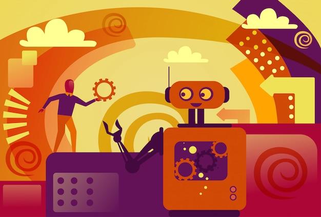 Robot che dà il supporto tecnico della ruota del dente dell'uomo di affari ed il concetto di intelligenza artificiale