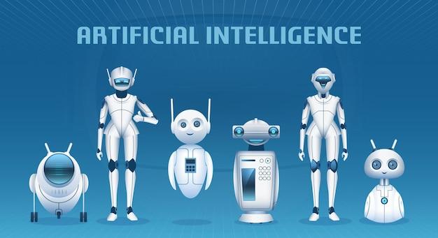 Gruppo di robot. personaggi dei cartoni animati moderni di intelligenza artificiale, mascotte di androidi e robot. concetto di vettore di macchine tecnologiche futuristiche