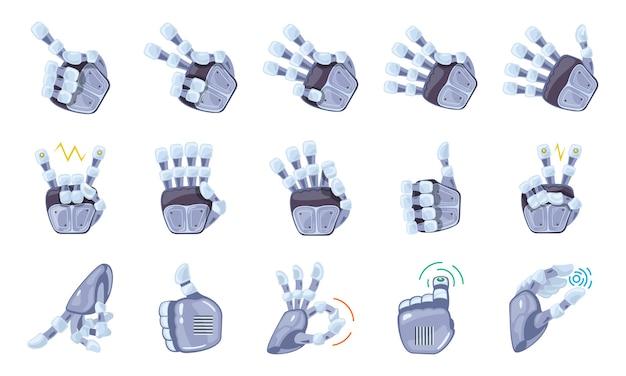Illustrazione di gesti delle mani del robot