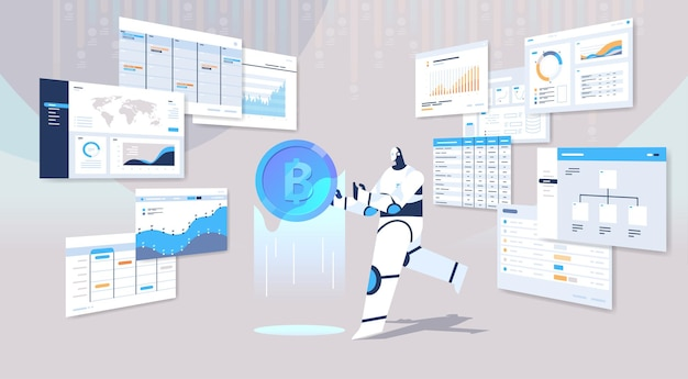 Robot che tiene la valuta cripto bitcoin. denaro web digitale
