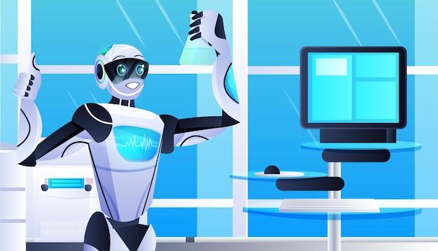 Robot che tiene la provetta con un chimico robotico liquido che fa esperimenti nell'intelligenza artificiale di ingegneria genetica di laboratorio