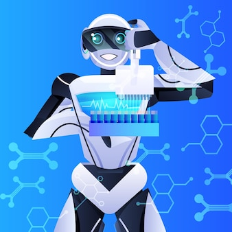 Robot che tiene le provette con un chimico robotico liquido che fa esperimenti nell'intelligenza artificiale di ingegneria genetica di laboratorio
