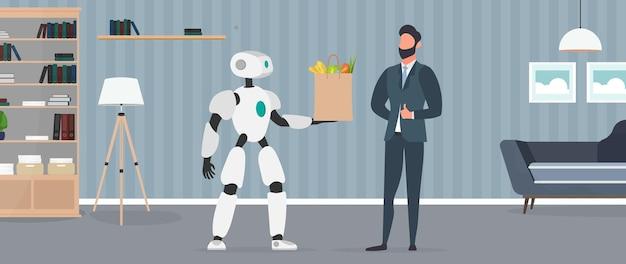 Il robot tiene in mano una borsa con la spesa. consegna del cibo tramite robot. uomo d'affari che mostra pollice in su. concetto di consegna futura. acquisti online. vettore.