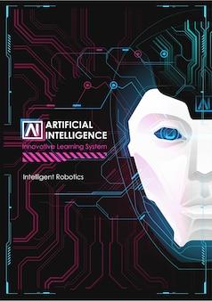 Robot o miglioramento della testa umana. apprendimento automatico e concetto di dominio della mente cibernetica. l'intelligenza artificiale con digital face sta imparando a elaborare i big data, le informazioni di analisi.
