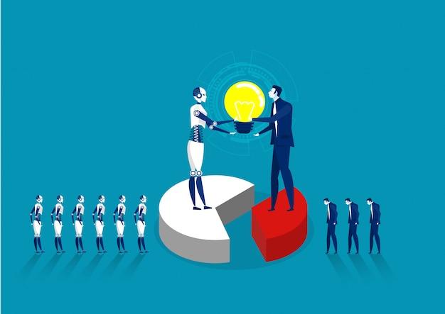 Robot e lampadina umana per la cooperazione sviluppano manodopera invece umana