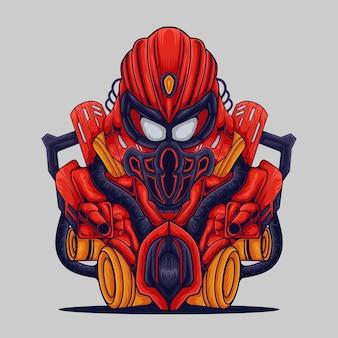 Mascotte dell'illustrazione del combattente dell'icona del robot