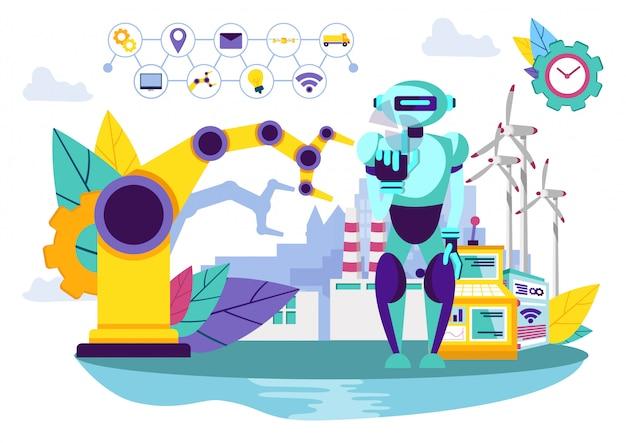 Robot e macchina industriale. Vettore Premium