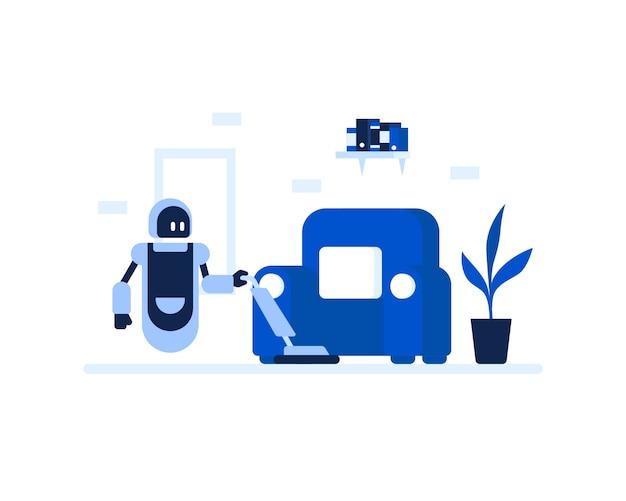 Un robot sta pulendo il concetto dell'illustrazione della casa