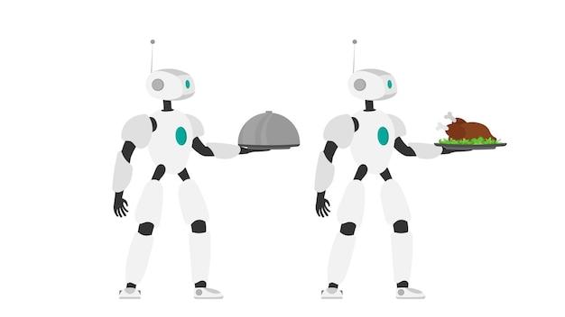 Il robot tiene in mano un vassoio di metallo con carne fritta. cameriere robot. il concetto di futuri lavoratori del caffè. isolato. vettore.