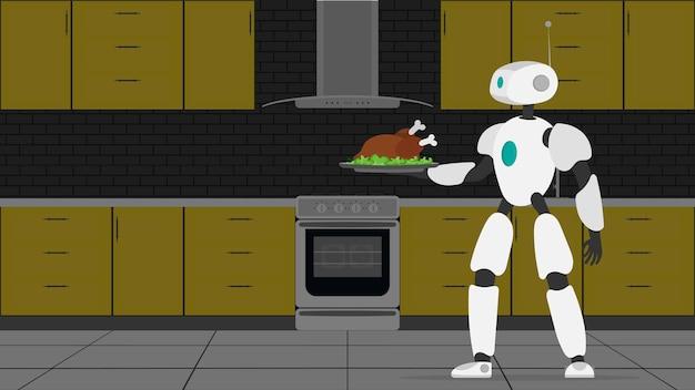 Il robot tiene in mano un vassoio di metallo con carne fritta. cameriere robot. il concetto di futuri lavoratori del caffè. vettore.