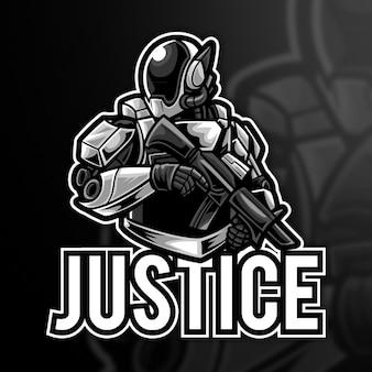 Modello di logo di robot justice esport