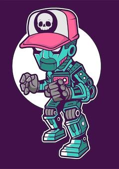 Illustrazione disegnata a mano di robot kid
