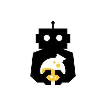 Robot laboratorio laboratorio cyborg automatico spazio negativo logo icona vettore illustration