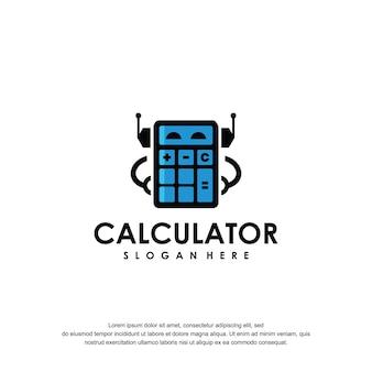 Modello di progettazione grafica calcolatrice logo robot