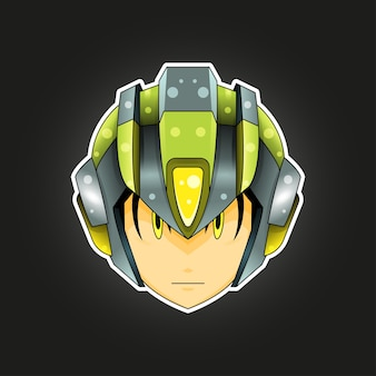 Robot mascot per logo, personaggio, adesivo, t-shirt