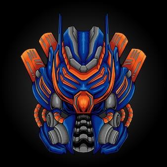 Illustrazione del design del logo della mascotte del robot