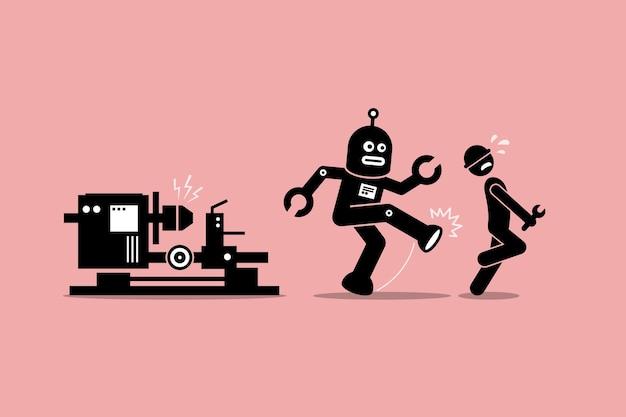 Il meccanico robot allontana un operaio tecnico umano dal fare il suo lavoro in fabbrica.