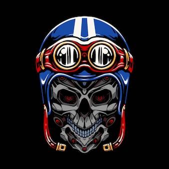 Disegno dell'illustrazione del casco del motociclo del robot