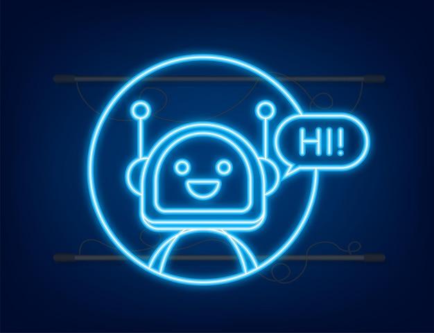 Icona al neon del robot progettazione del segno del robot concetto del simbolo del chatbot bot del servizio di supporto vocale