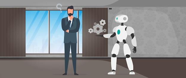 Il robot offre una soluzione. uomo d'affari con una domanda. concetto di lavoro di squadra di persone e robot. vettore.