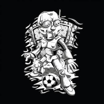 Robot gioca a calcio in bianco e nero illustrazione