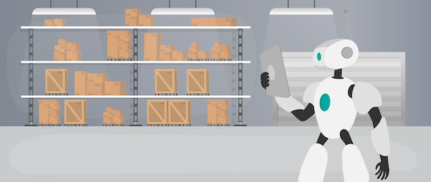 Robot nel magazzino di produzione. il robot tiene in mano un tablet. concetto futuristico di consegna, trasporto e carico delle merci. ampio magazzino con cassetti e bancali. vettore.