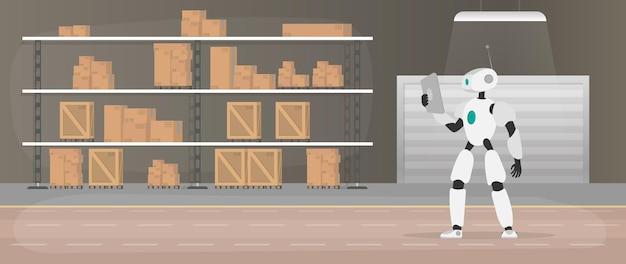Robot nel magazzino di produzione. il robot tiene in mano un tablet.
