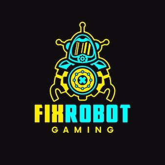 Logo di gioco di riparazione robot