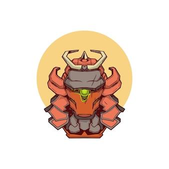 Maglietta dell'illustrazione della testa del samurai del robot