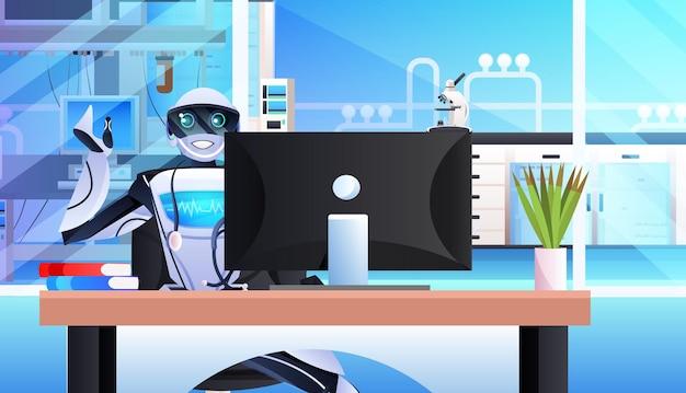 Robot seduto sul posto di lavoro uomo d'affari robotico che lavora in ufficio concetto di tecnologia di intelligenza artificiale ritratto orizzontale
