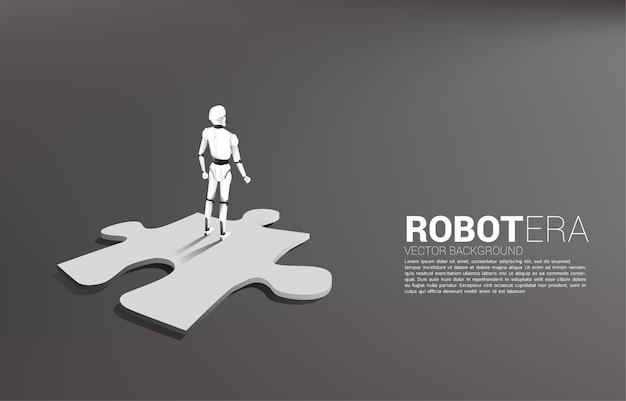 Robot in piedi sul puzzle isolato su grigio