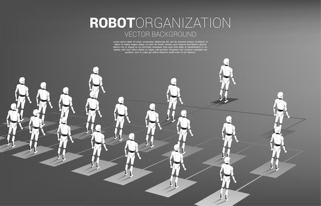 Robot in piedi sull'organigramma. concetto di intelligenza artificiale e apprendimento automatico, tecnologia dei lavoratori.