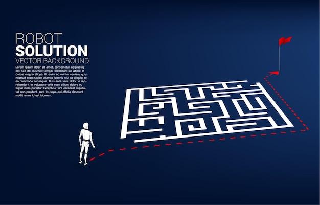 Il robot in piedi sul percorso del percorso gira intorno al labirinto fino all'obiettivo. concetto di intelligenza artificiale per la risoluzione dei problemi e la ricerca di idee.