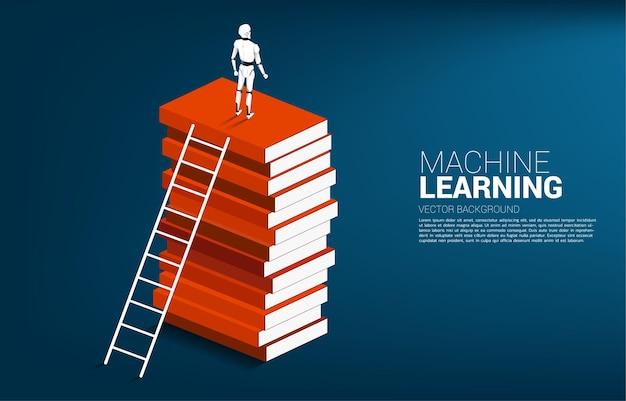 Robot in piedi in cima alla pila di libri. concetto di intelligenza artificiale e tecnologia dei lavoratori di apprendimento automatico.