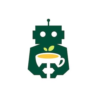 Robot tè foglia tazza bevanda cyborg automatico spazio negativo logo icona vettore illustrazione