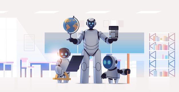 Insegnante di robot con studenti robotici in piedi in aula tecnologia di intelligenza artificiale