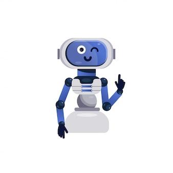 Giocattolo robot. chatbot allegro, giocattolo android sorridente. robot amichevole isolato. illustrazione di vettore dei bambini in stile piano. simpatico personaggio robot per la progettazione, assistente bot online.