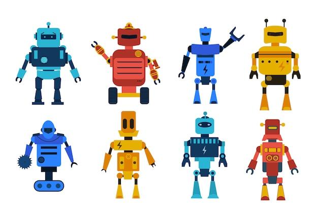 Set di caratteri di giocattoli robot. raccolta di robot dei cartoni animati, trasformatore e androidi isolati su sfondo bianco. la tecnologia, il futuro.