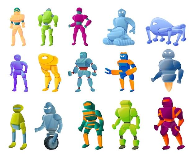 Robot-trasformatore set, stile cartoon