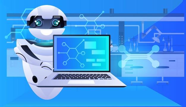 Robot che utilizza chimici robotici per laptop facendo esperimenti nel concetto di intelligenza artificiale di laboratorio orizzontale