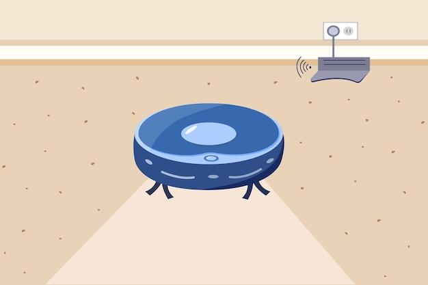 Robot aspirapolvere. l'interno della stanza, il concetto di pulizia della casa e l'automazione della casa. stazione di ricarica remota. illustrazione vettoriale di uno stile cartone animato piatto.