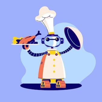 Illustrazione di cameriere robot